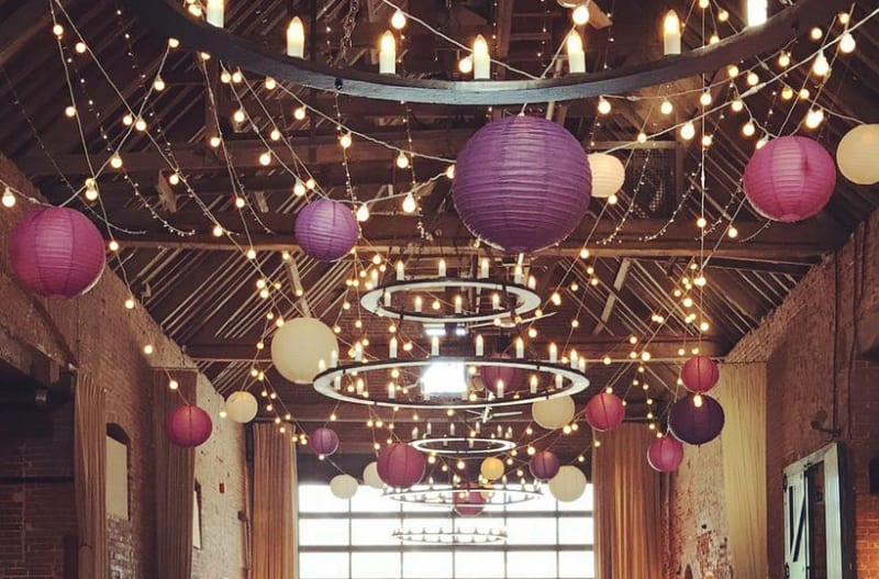 Amazing wedding decoration hired out in barn wedding venue