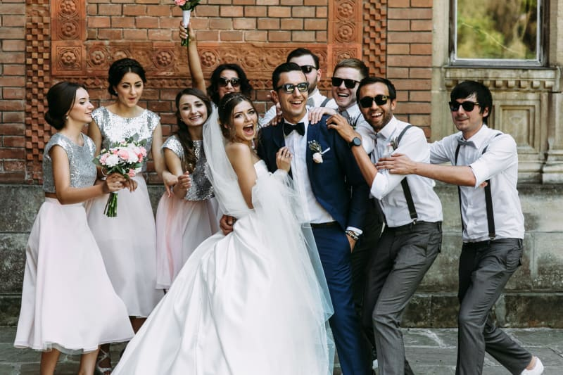 Bridebook.co.uk Wedding Party Sequinned Bridesmaids dresses and sunglasses