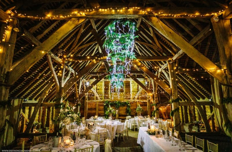 Inside of the stunning and inspiring Gildings Barns wedding venue in Surrey, UK