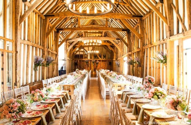 Inside of the beautiful Micklefield Hall wedding venue in Hertfordshire, UK