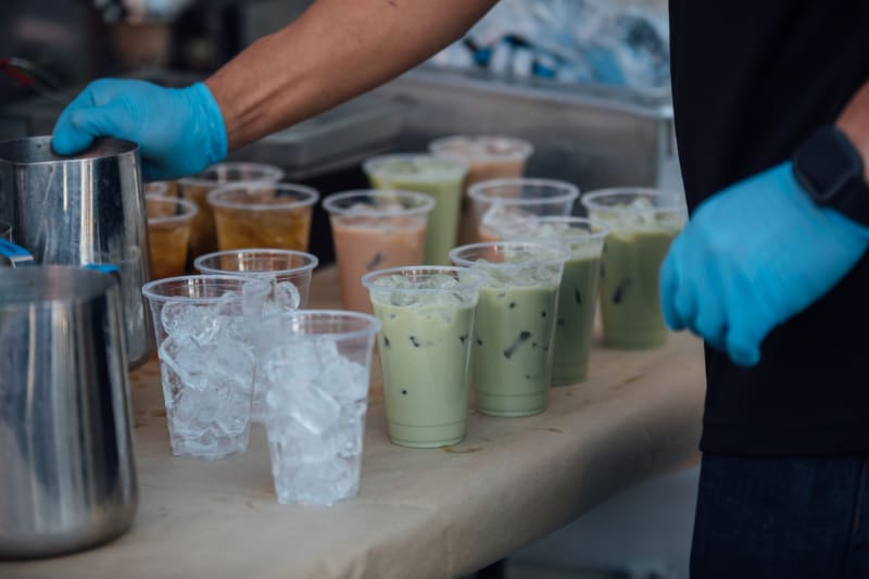 Bubble Tea station at wedding serving many flavoursome bubble teas of different flavours