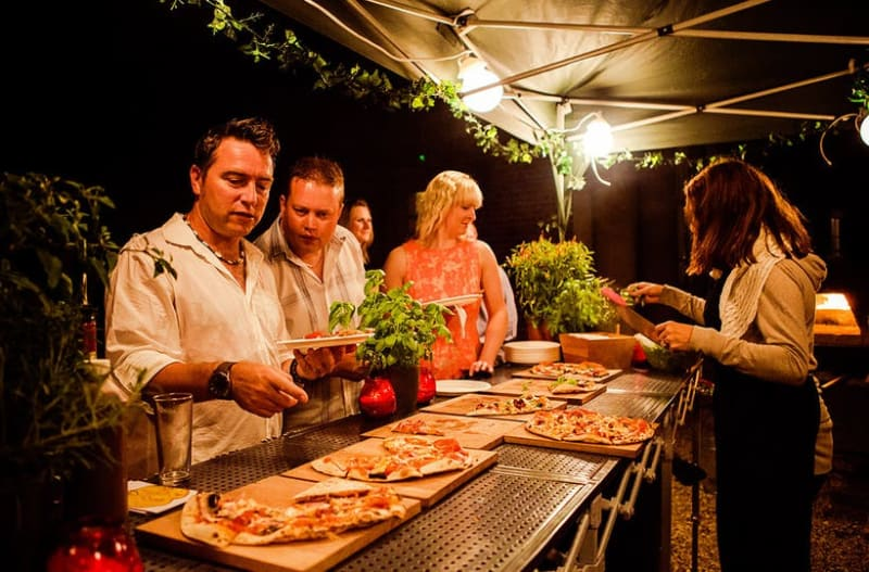 Pizza bar serving mouth-watering pizzas at wedding