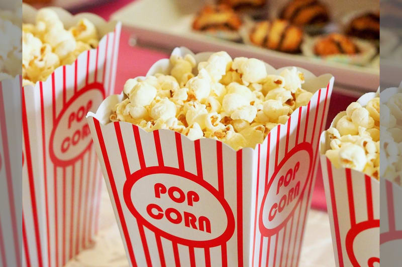 Popcorn station serving appetising popcorn at wedding