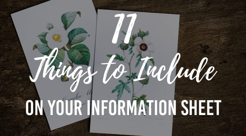 things to include on your wedding information sheet