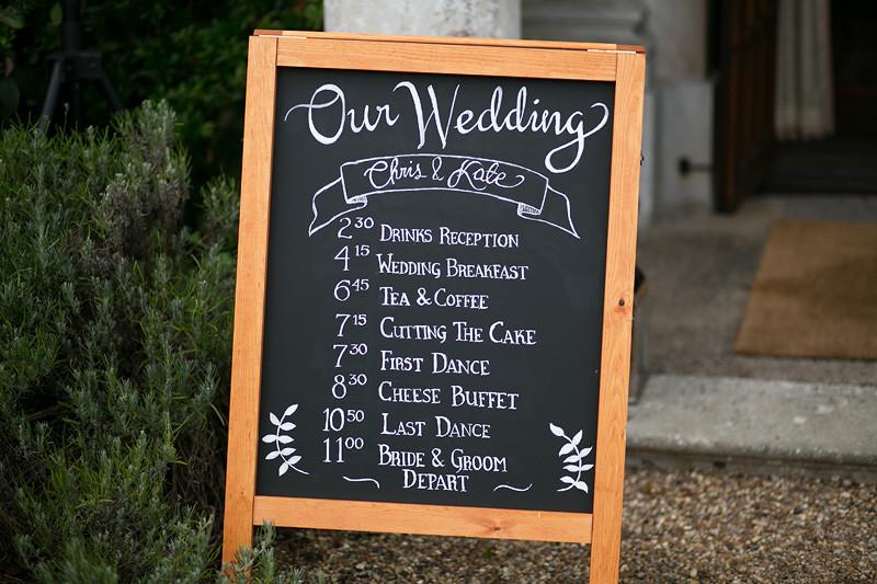 Bridebook.co.uk- order of service written on a blackboard