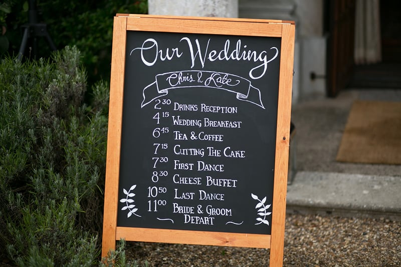 Bridebook.co.uk- order of service written on a blackboard
