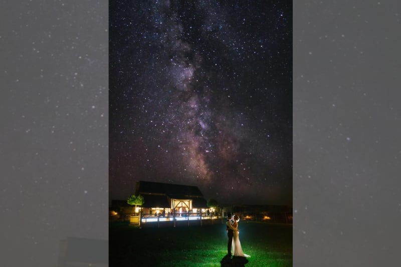 Bridebook Co Uk Bride And Groom In Front Of The Venue Starry By Chris Giles Photography
