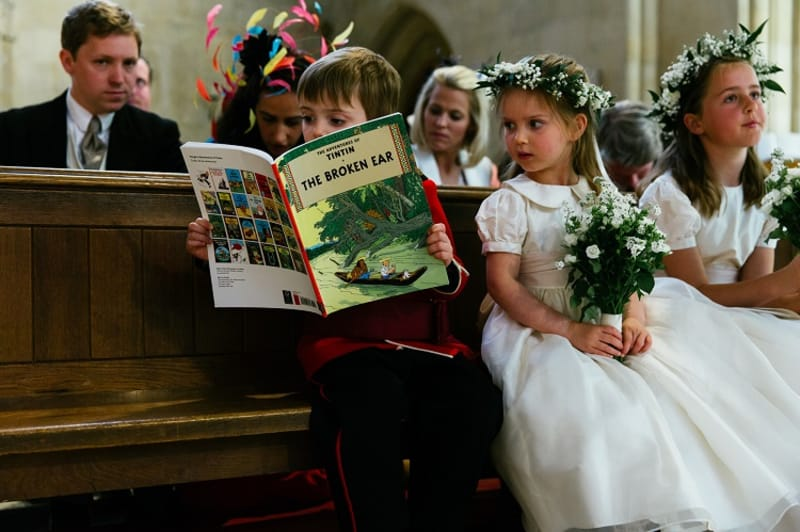 bridebook.co.uk reading tintin at the ceremony
