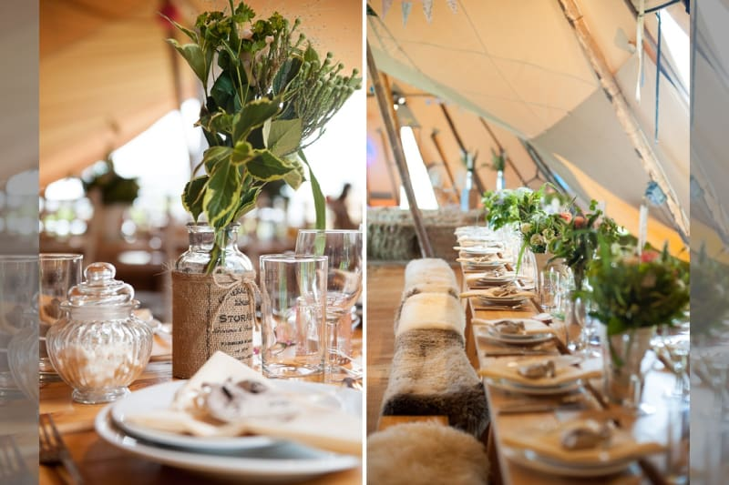 Rustic Teepee wedding with trestle tables and hay bales
