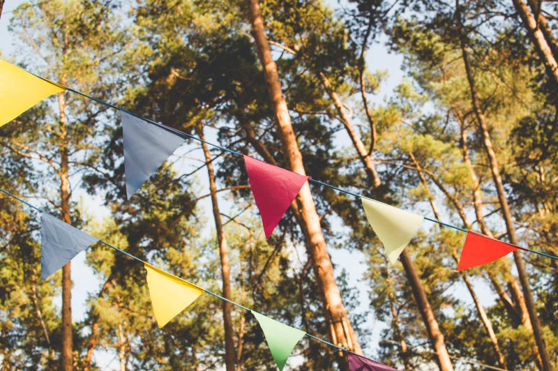 Bridebook.co.uk bunting flags for outdoors wedding venue