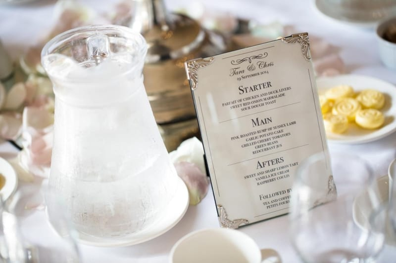 Bridebook.co.uk- wedding breakfast menu next to water jug