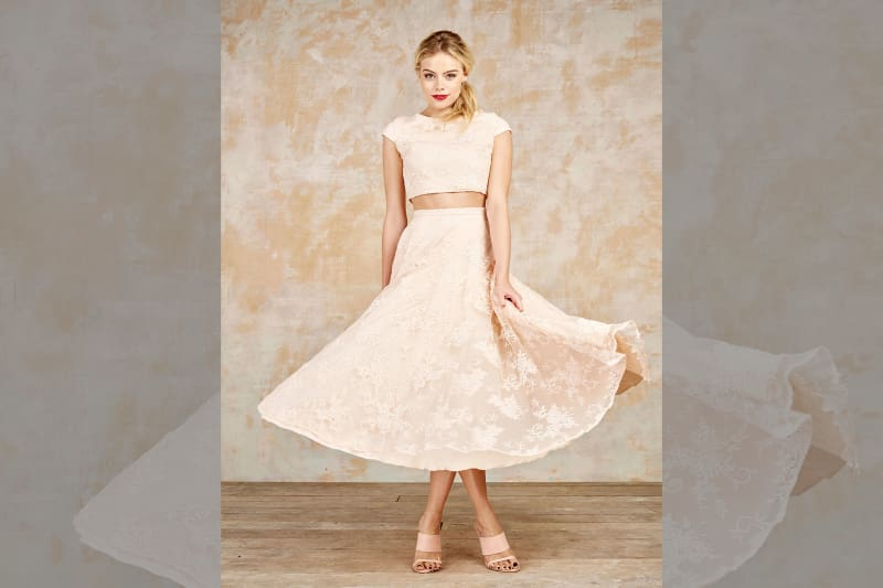 bridebook.co.uk house of ollichon blush skirt and crop top