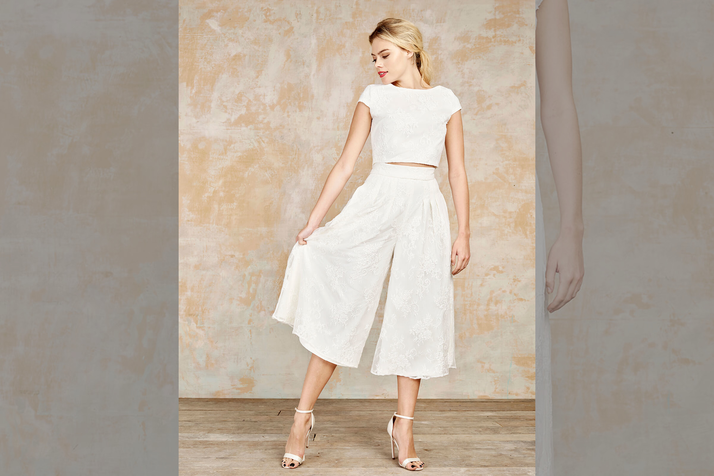 bridebook.co.uk-house-of-ollichon white culottes and crop top