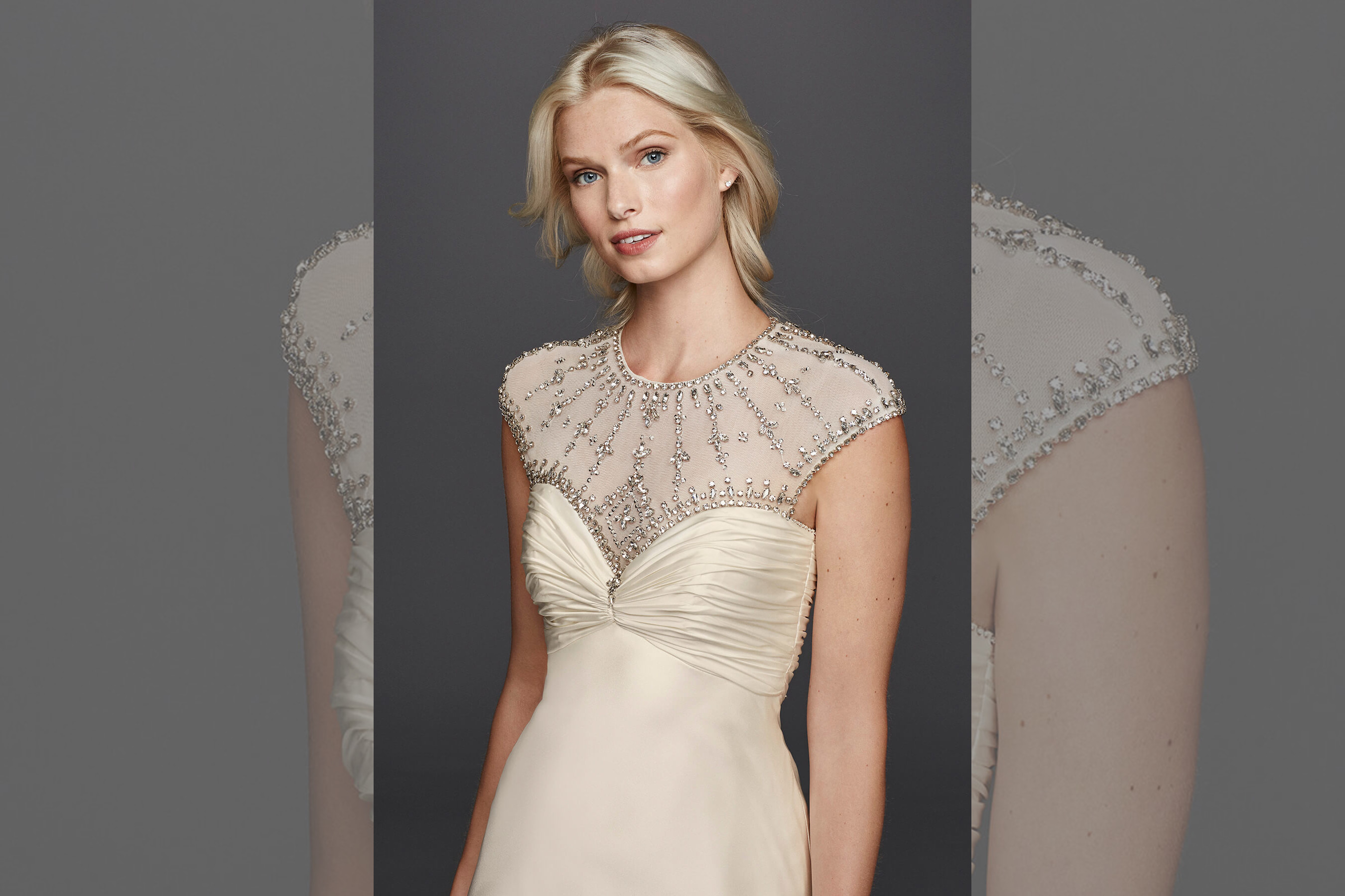 bridebook.co.uk jenny packham for david's bridal ivory dress with neckline details
