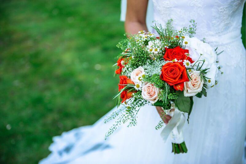 South East   Sussex   Crawley   Summer   Outdoor   Garden   Blue   Orange   Manor House   Real Wedding   Hajley Photography #Bridebook #RealWedding #WeddingIdeas Bridebook.co.uk