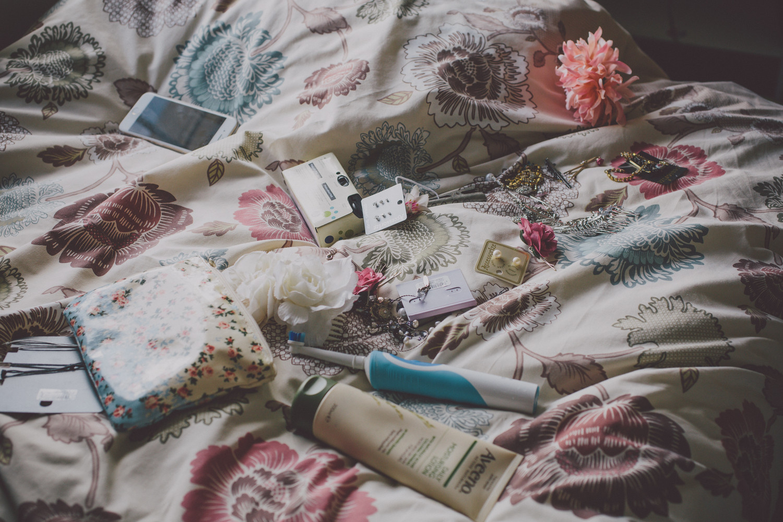 Bridebook.co.uk- bridal emergency kit lying on the bed