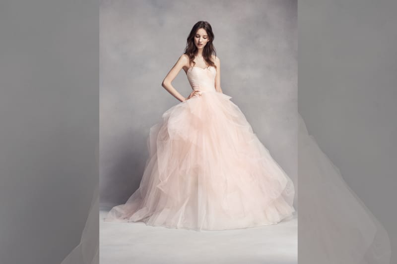 Bridebook.co.uk David's Bridal pink ballgown dress