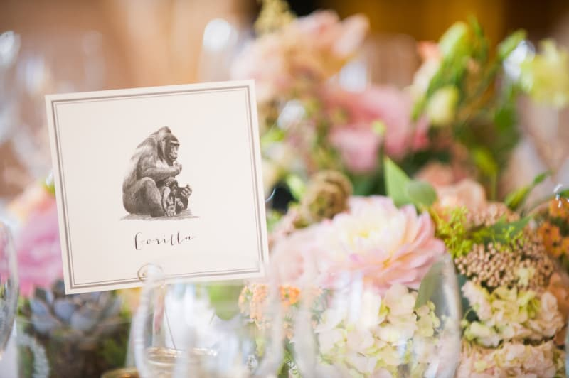 Bridebook.co.uk- gorilla sketch table place card