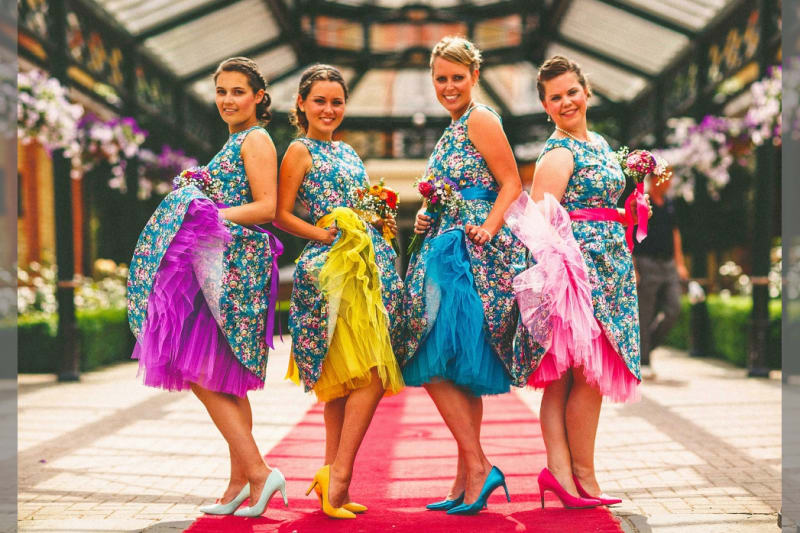 Bridebook.co.uk-bridemaids-in-colourful-dresses-by-miki-photography