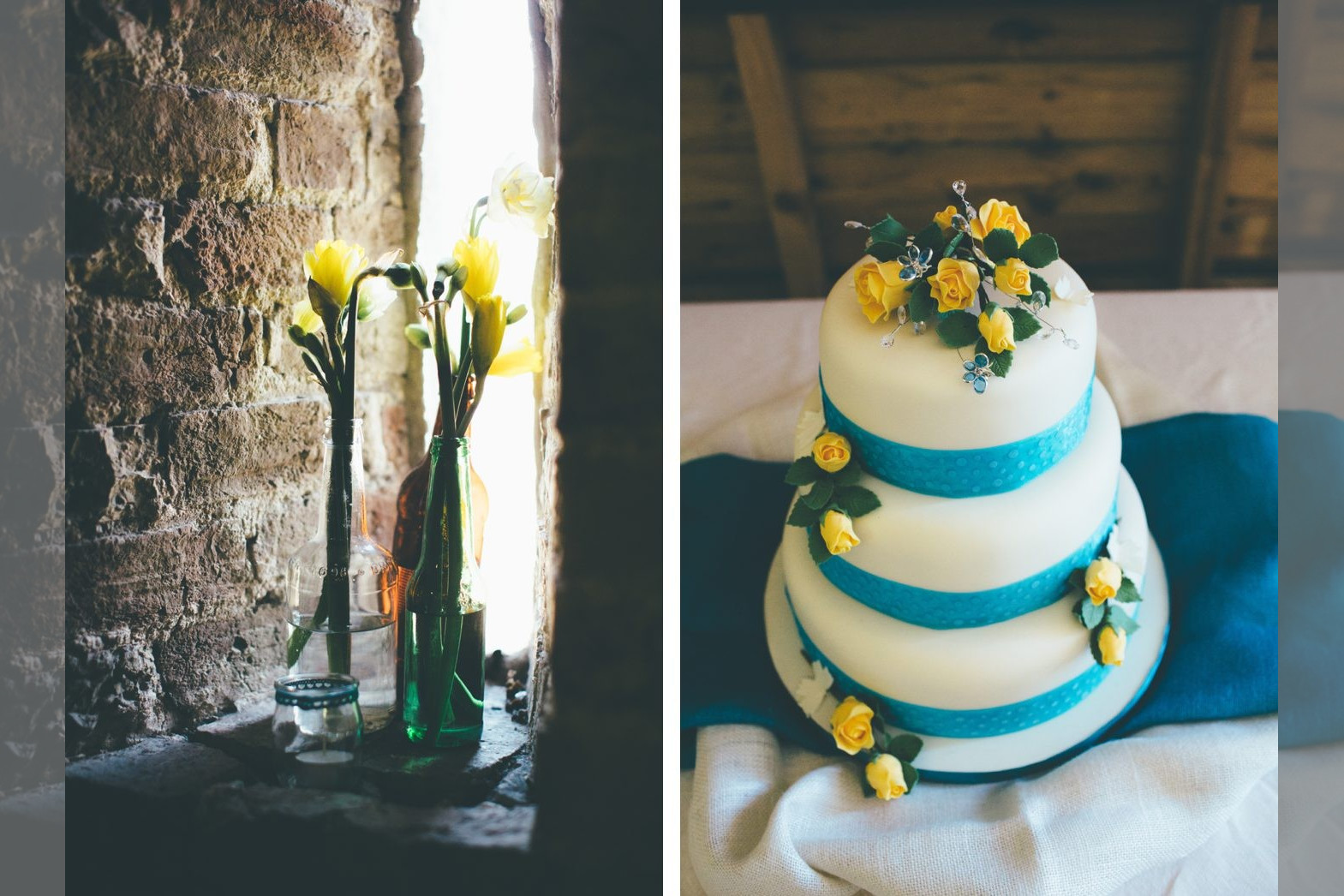 Bridebook.co.uk- yellow and blue wedding cake with yellow flowers