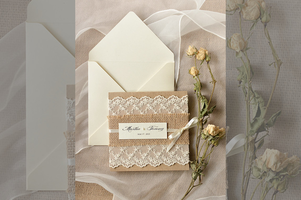 Bridebook.co.uk- burlap and lace invitations
