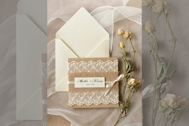Bridebook.co.uk- burlap and lace invitations