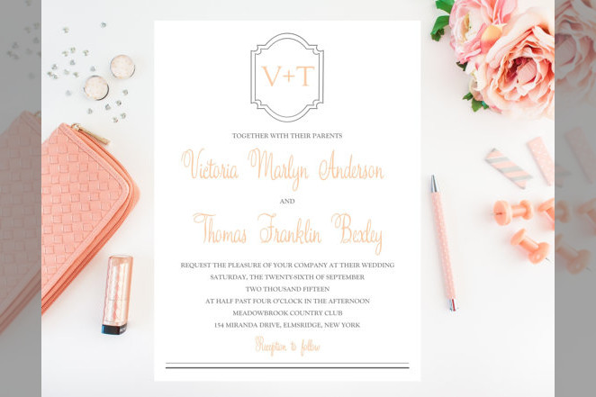 Bridebook.co.uk- simplistic wedding invitation with elements of calligraphy