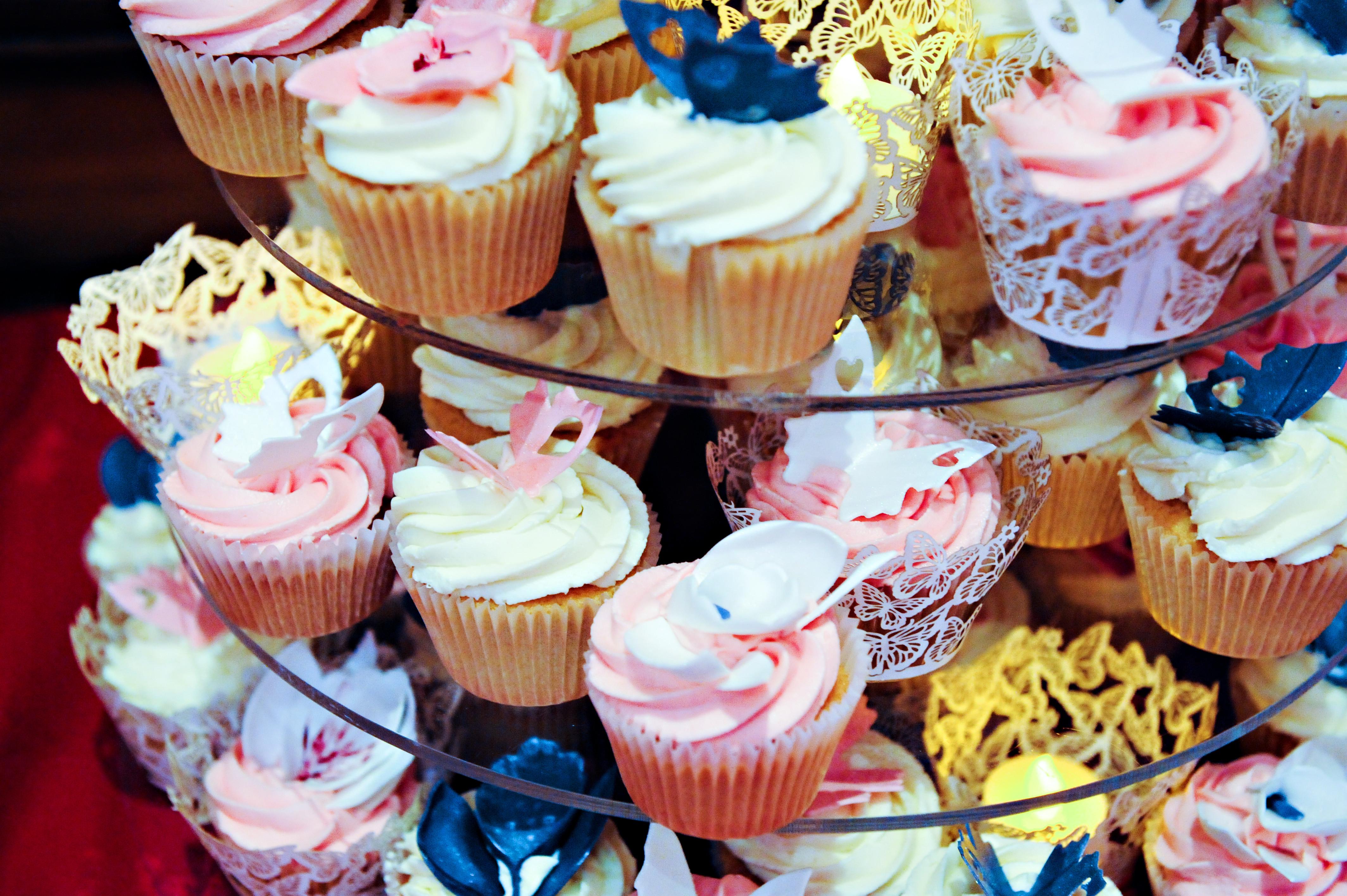 Bridebook.co.uk- cupcake tower at wedding breakfast