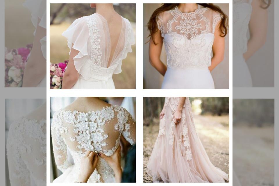 bridebook.co.uk collage of four different wedding dress details