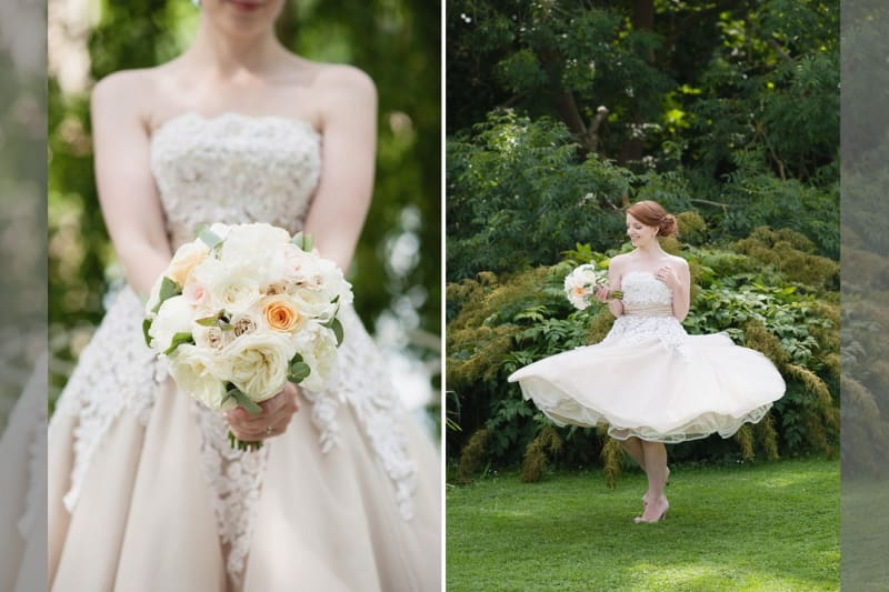 Bridebook.co.uk- bride in a tea length dress with her wedding bouquet