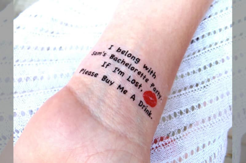 Bridebook.co.uk- i am with the bachelorette party temporary tattoo