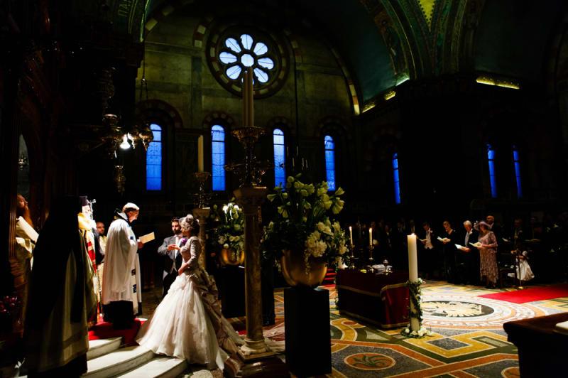 Bridebook.co.uk- Bride and groom at Greek Orthodox wedding ceremony