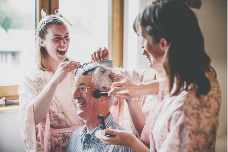 Bridebook.co.uk- bridesmaids doing father of the bride hair and make-up