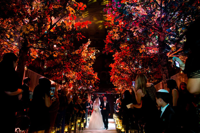 Bridebook.co.uk- bride walking up the aisle under red trees