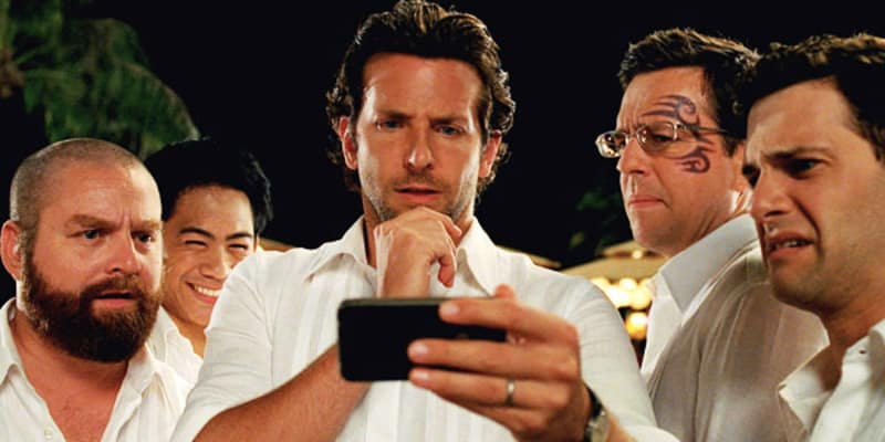 Bridebook.co.uk- the actors from hangover looking at a phone