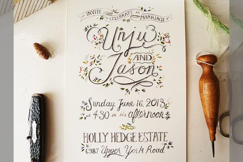 Bridebook.co.uk- calligraphy themed wedding invitation