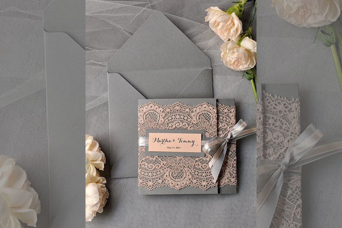 Bridebook.co.uk- grey and lace decorated invitations