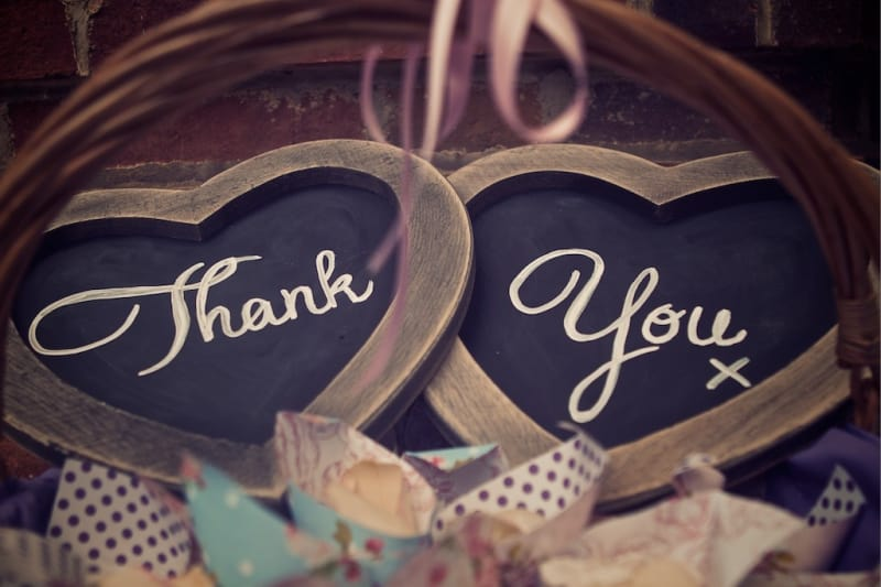 Bridebook.co.uk- heart sign saying thank you