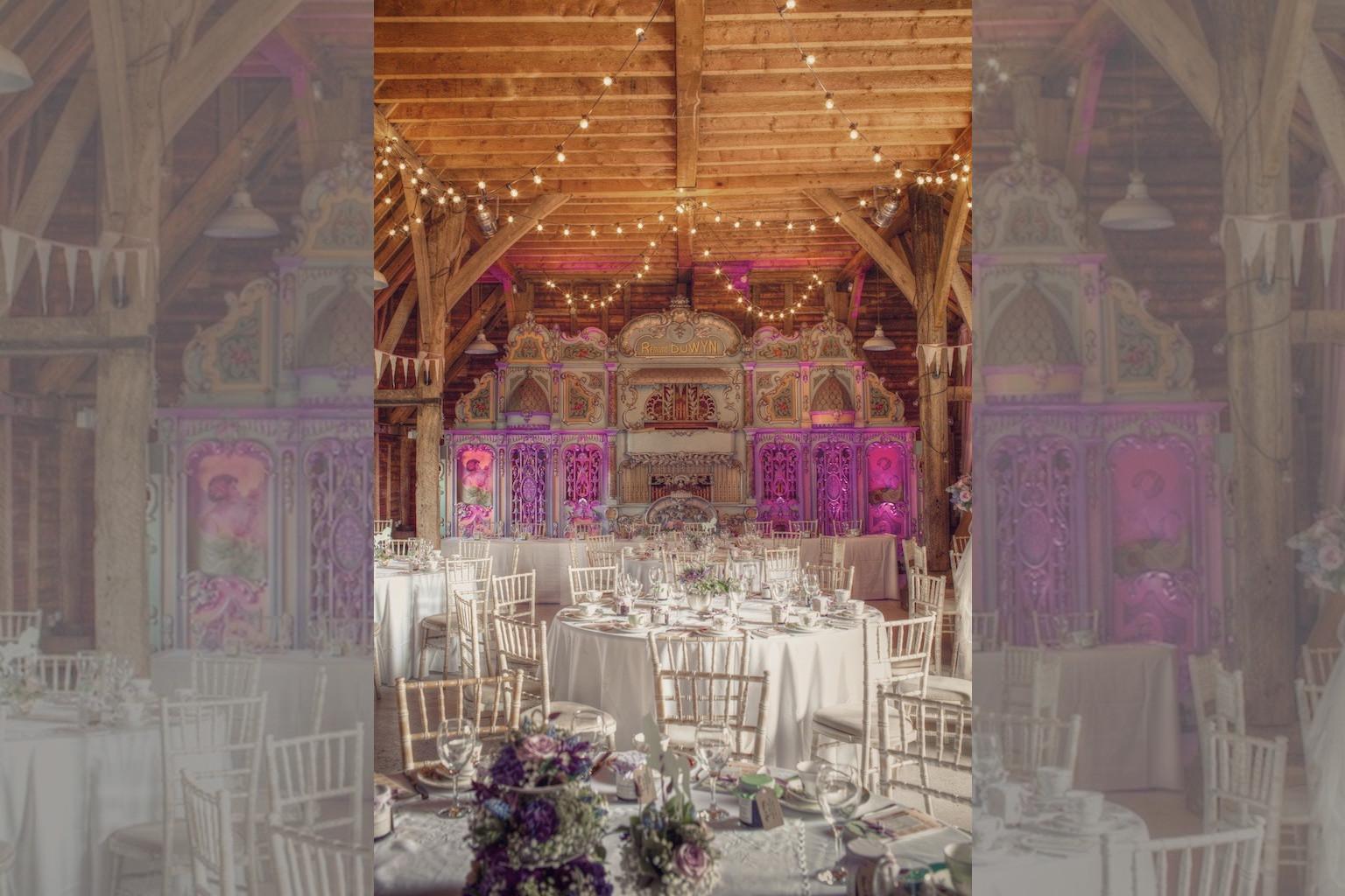 Bridebook.co.uk- quirky wedding venue set up for wedding breakfast