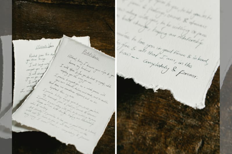 Bridebook.co.uk- wedding vows on a piece of paper
