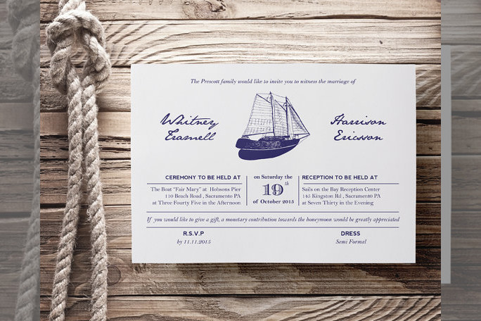 Bridebook.co.uk- nautical wedding invitation