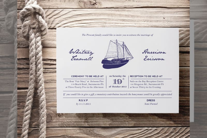 Bridebook.co.uk- nautical wedding invitation