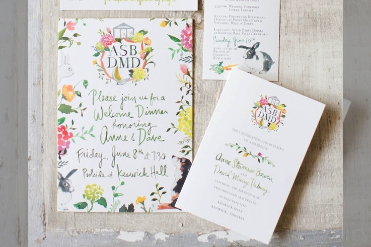 Bridebook.co.uk- bright flowers wedding invitation