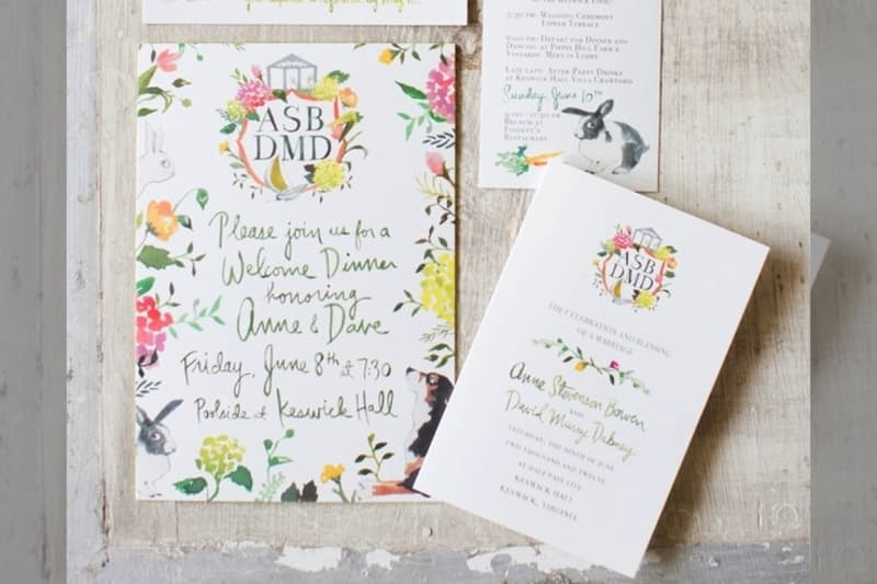 Bridebook.co.uk- bright flowers wedding invitation
