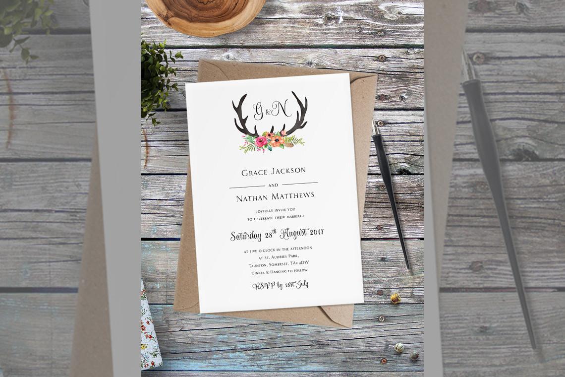 Bridebook.co.uk- wedding invitation with stag antlers