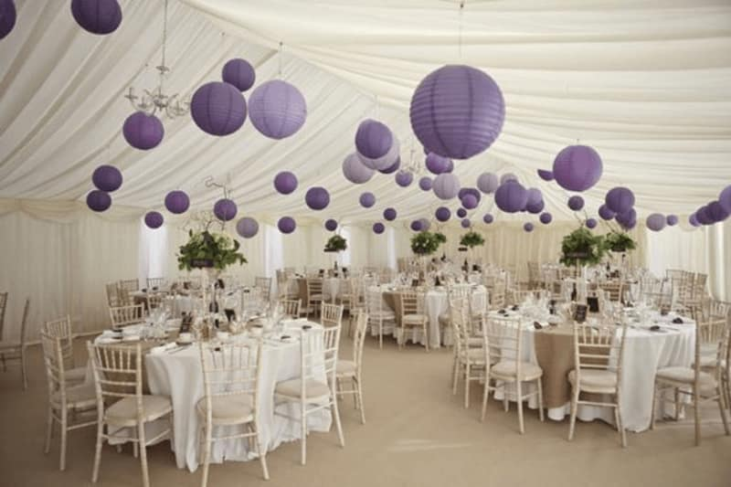 Hot wedding trend 2018 let the purple reign wedding advice or be very clever and show couples how effective purple lighting can look alongside sophisticated whites and crystal table decorations junglespirit Gallery