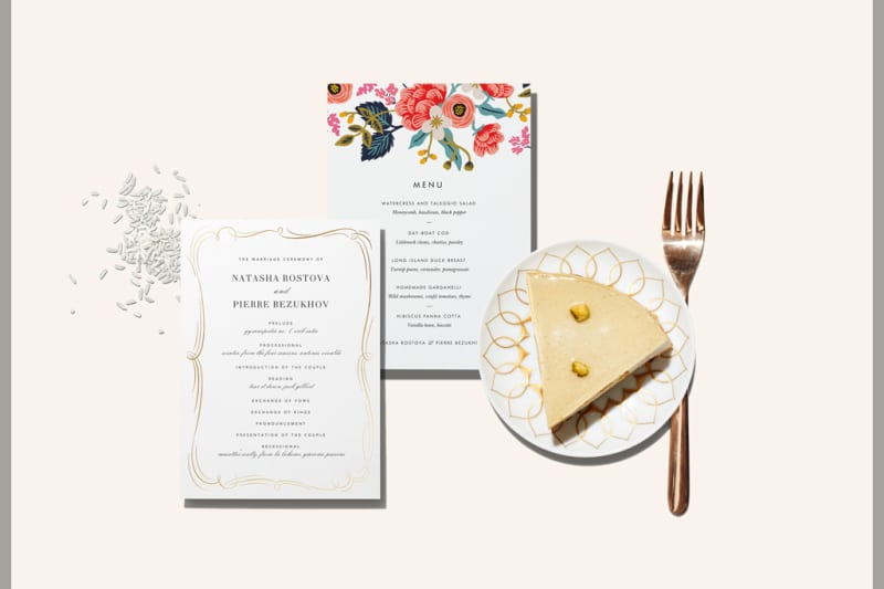 bridebook.co.uk paperless post wedding menus with a lslice of cake