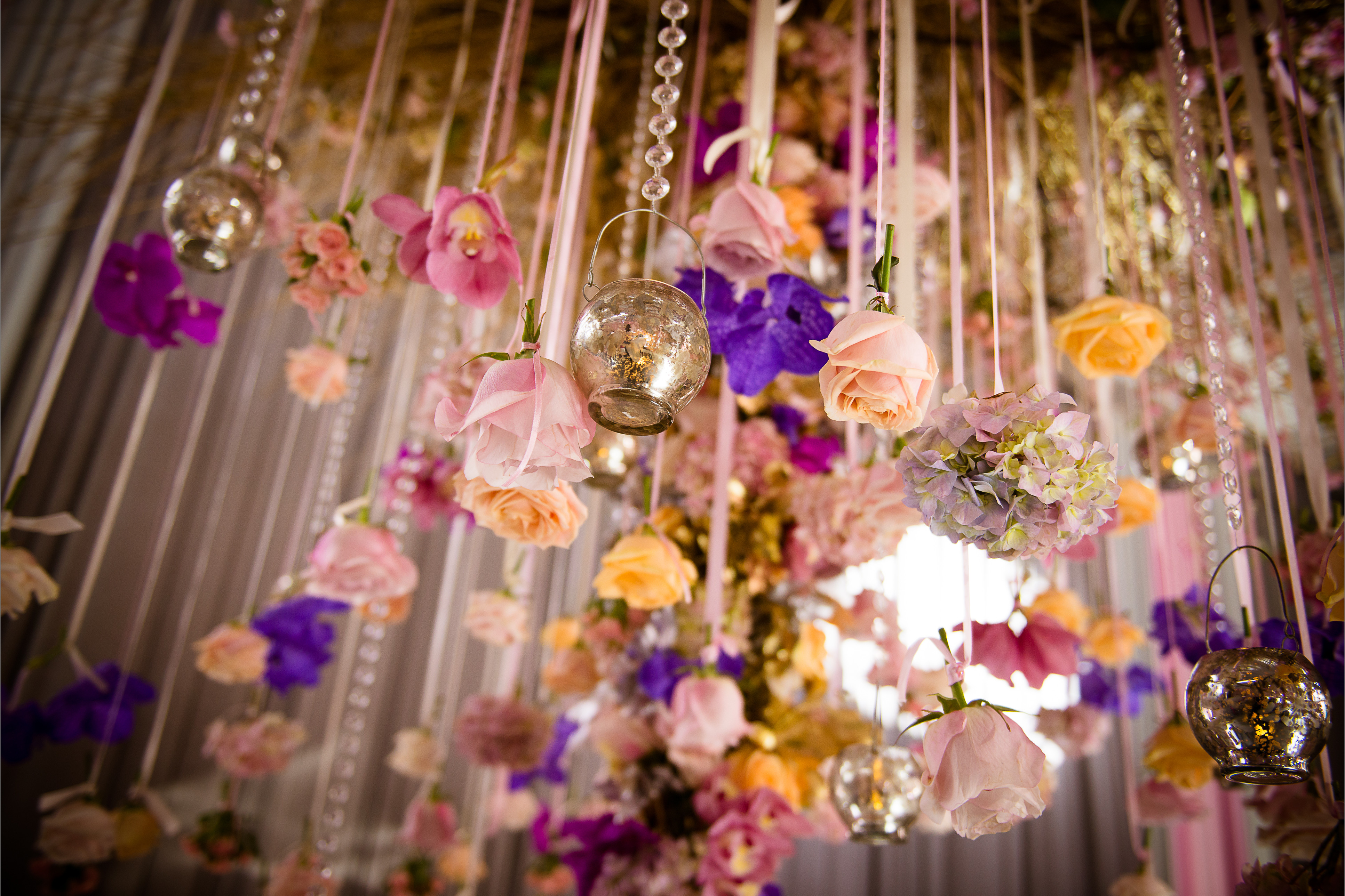 bridebook.co.uk - simon lycett hanging roses and lights
