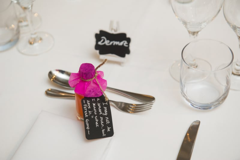Bridebook.co.uk- wedding favours with a forrest gump quote attached