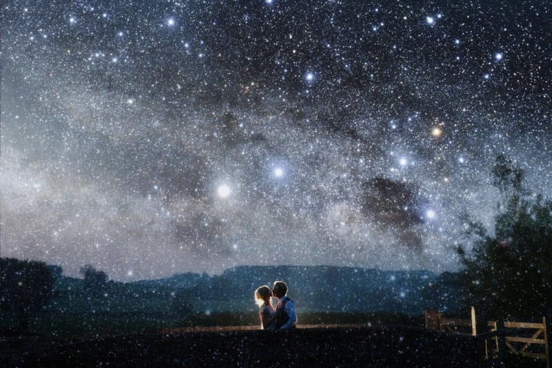 Bridebook.co.uk- bride and groom kiss under a starry sky